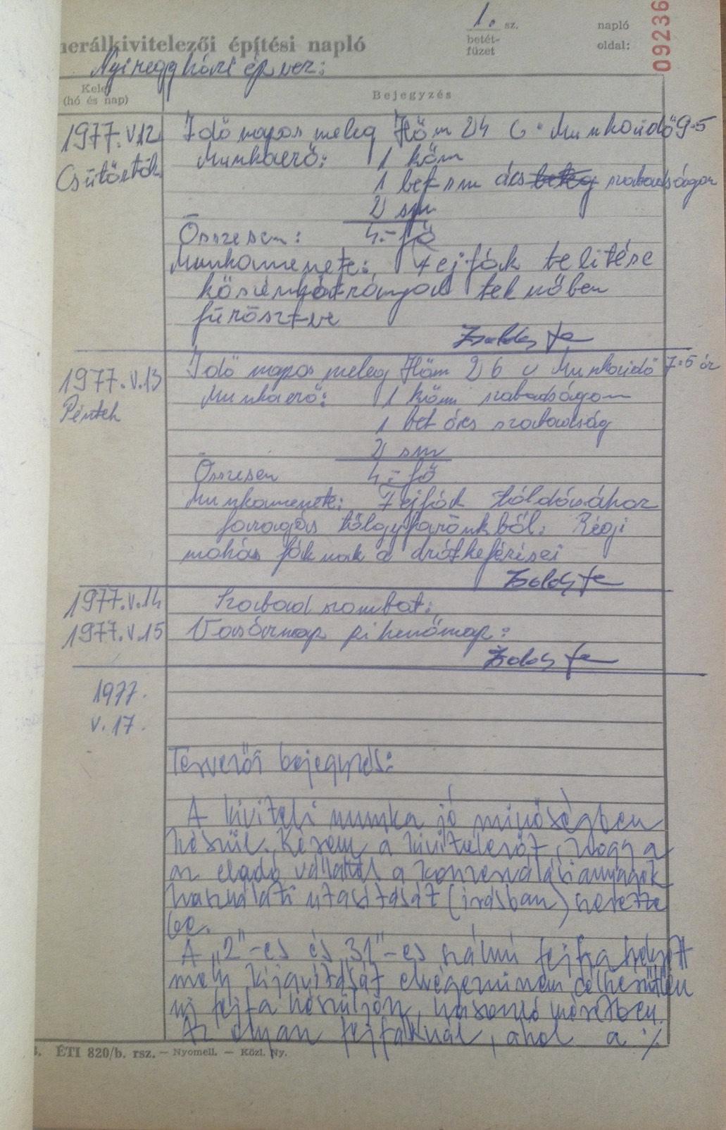 Építési napló 1.